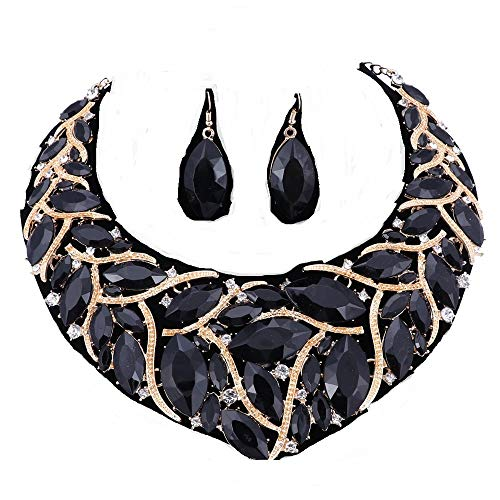 African Beads Jewelry Sets Women Bridal Crystal Statement Necklace Earring Jewelry Sets (Black)