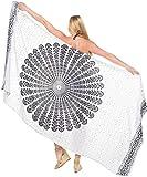 LA LEELA Rayon Hawaiian Beach Pareo Girls Sarong Printed 78''X39'' White_4925