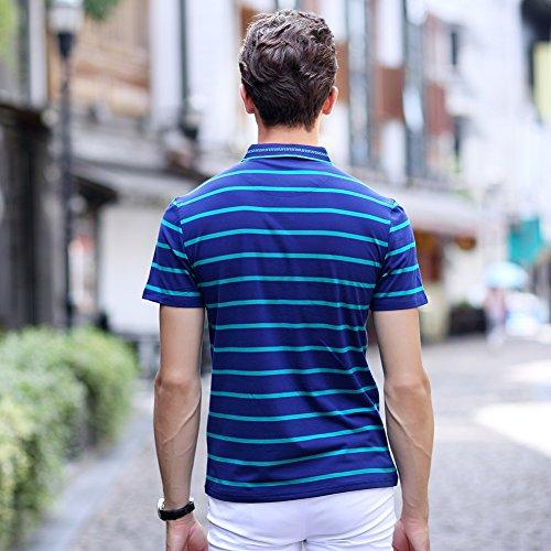 ポロシャツ メンズ ゴルフウェア 半袖 ストライプ 二重衿 ストライプ 軽量