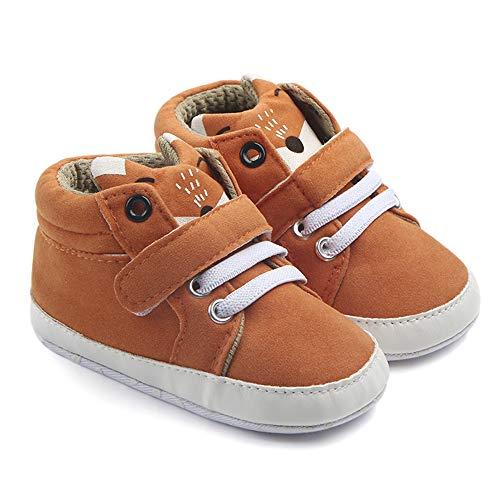 Nagodu Shoes Zapato para Bebe niño Cafe con Cintas Blancas y Velcro para Mejor Ajuste, lengueta de animalito, Super Suaves...