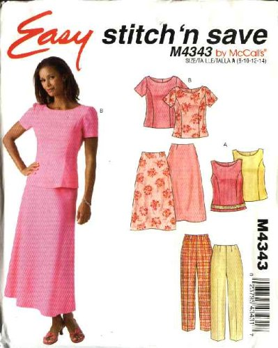Mccalls Misses Skirt - McCall's Sewing Pattern 4343 Misses Size Easy 8-14 Easy Fitted Tops Pants Bias Long Skirt
