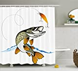 Fishing Lure Shower Curtain Hooks Ambesonne Fishing Decor Shower Curtain by, Pike Out of Water Splash to Catch the Trap Lure Tackling Marine Life Illustration, Fabric Bathroom Decor Set with Hooks, 84 Inches Extra Long, Multi