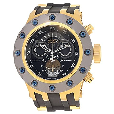 Invicta Excursion Reserve Chronograph Black Dial Black Polyurethane Gold Ion-plated Accents Mens Watch (Invicta Reserve Excursion Gold)