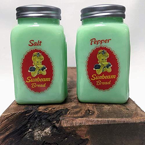 Vintage Green Jade (Sunbeam Arched Design Salt & Pepper Shaker SET - Vintage Style Home & Kitchen (Jade Green))