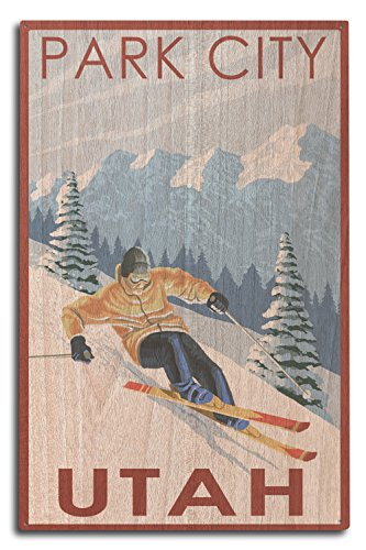 (Lantern Press Park City, Utah - Downhill Skier (10x15 Wood Wall Sign, Wall Decor Ready to Hang))