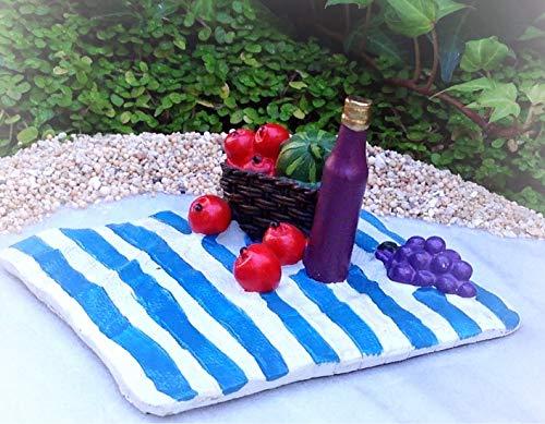 - Dollhouse Sea Island Blue Beach Blanket Picnic w Wine - Miniature Magic Scene Supplies Your Fairy Garden - Outdoor House Decor