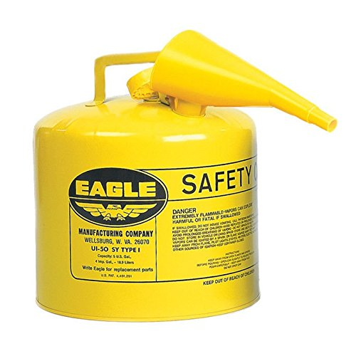 Eagle Mfg. Ui-50-fsy Yellow Type 1 Safety 5 Gallon Fuel Can W/ F-15 Funnel