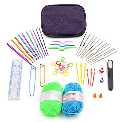 Sumnacon 51 Piece Crochet Hook, Yarn Knitting Needle Stitch Marker Gauge Ruler Scissor Bundle with 22 Crochet Hooks, 2 Yarn Balls, Travel Case for Craft Projects, Clothing Repair, Handmade Textiles