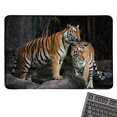 AnimalE-Sports Gaming Mouse PadTiger Couple in The Jungle on Big Rocks Image Wild Cats in Nature Image PrintNonslip Rubber Base 15.7