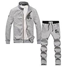 SODIAL(R)Men recreational sports suit men tracksuit L gray