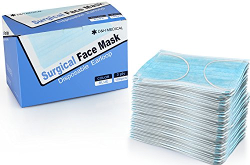 100 Pack Disposable Medical Sanitary Surgical Face Masks with Elastic Earloops  Hypoallergenic Thick 3Ply Cotton Filter for Pollen Allergies Cold Dust Flu Bacteria Dentists and Doctors