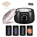 FitMaker Wax Warmer Hair Removal Kit, Professional Wax Heater Pot Self-Waxing Spa 4 Flavors Hard Wax Beans + 20 Wax Applicator Sticks Upgraded Temperature Setting Electric Wax Heater Home Waxing