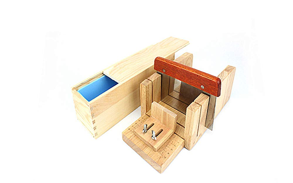 Pure Vie Multi-function Practical Adjustable Wood Soap Cutter + 1PC Rectangle Silicone Soap Loaf Mold and Wood Box + 1PC Straight Soap Cutter Soap Making Tool - Handmade Craft Soap Making Kitchen Tool