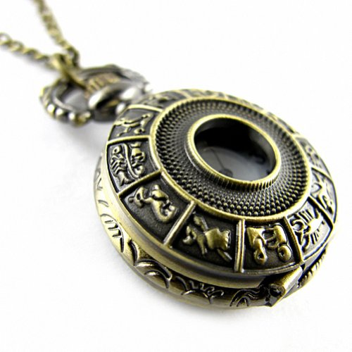 YouYouPifa Bronze Twelve Constellation Pattern Carved Hollow Small Pocket Watch