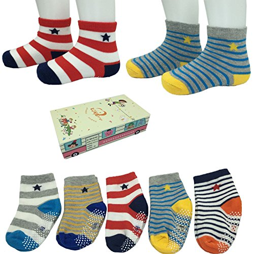 FlyingP Assorted 5 Pairs 8-36 Months Non Skid Ankle Socks Baby Walker Boys Toddler Anti Slip Knit Stripes Star Grips Socks Slippers Sneakers Footsocks Shoe Socks with Box