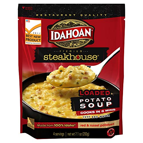 Idahoan Steakhouse Loaded Baked Potato Soup, Made with Gluten-Free 100-Percent Real Idaho Potatoes, 7.1 oz Pouch (Pack of 8)