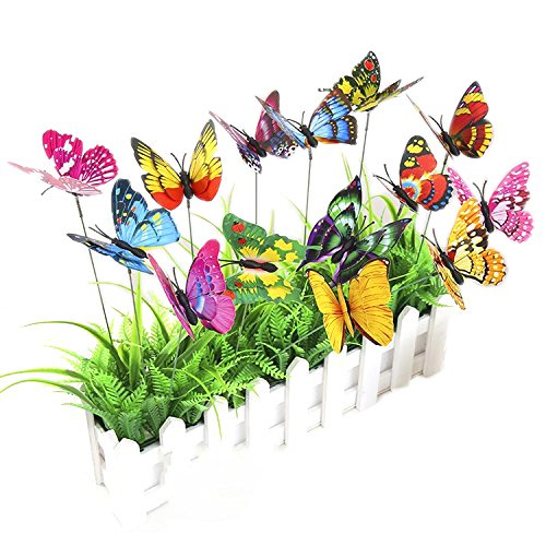 Mr.Garden Garden Artificial Butterflies on Sticks Flower Plant Pots Decor Stakes 25 Packs,3.5'' Single Layer by Mr Garden