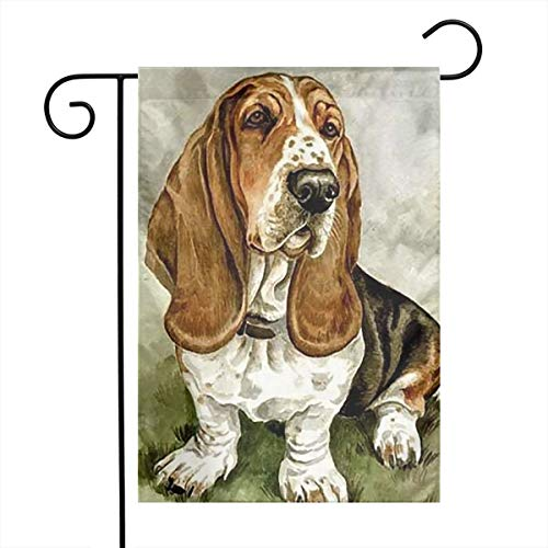 Vd67te&& Basset-Hound-Rubber-Coaster-Set Weather Resistant Garden Flags, Outdoor Game Flag, One Side (12