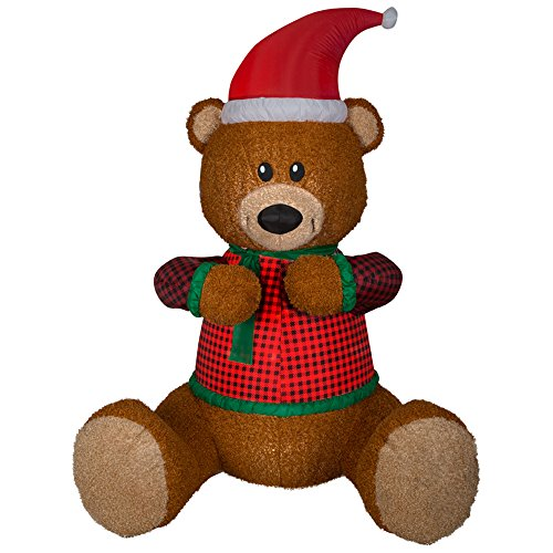 Gemmy 111726 Mixed Media Hugging Teddy Bear-Giant Christmas Inflatable 7FT TALL x 5FT LONG ()