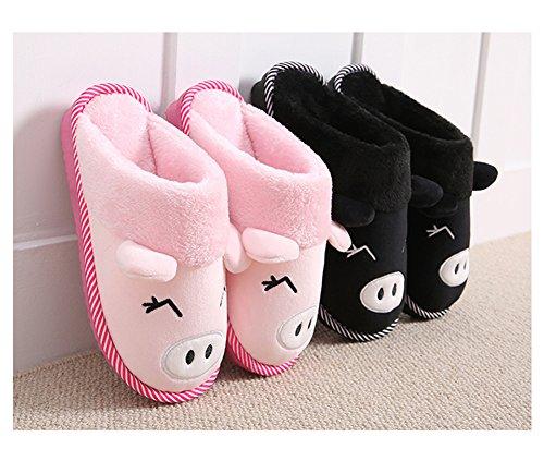 Rosa Uomini Peluche Antiscivolo Pattini Cotone Pantofole Scarpe Per Caldo Morbido Donne 44eu Casa Inverno Bety Nero Home 35 qOwC6p8x