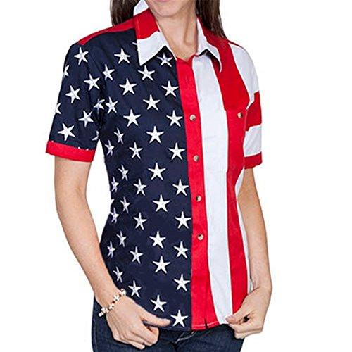 - The Flag Shirt Short Sleeve Woven Full Flag and Stripes Women's Polo Shirt (XXLarge, Multi)