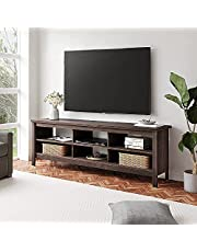 """WAMPAT Farmhouse Wood Universal Stand for TV's up to 75"""" Flat Screen Living Room Storage Shelves Entertainment Center, 70 Inch, Espresso"""