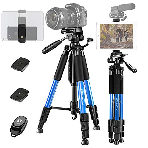 "JOILCAN 65"" Camera Tripod, Aluminum Lightweight Phone/Tablet Stand 11 lbs Load with Universal Phone/Tablet Mount,2PC Quick Plates for Traveling,Live Streaming, Video Recording(Blue)"