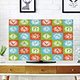 LCD TV dust Cover Customizable,Yoga,Mind and Body Theme Different Yoga Poses with Lotus Flower Motifs Colorful,Orange Green Sky Blue,Graph Customization Design Compatible 47'' TV