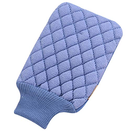 Bath Gloves Forthery Bathing Shower Towel Gloves Exfoliating Body-Scrub Glove Towel Wash Cloths (Blue)