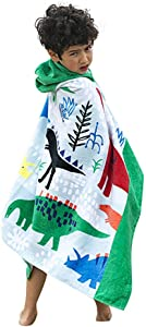 """InsHere Kids Dinosaurs Hooded Bath Towel for Toddlers Under Age 6, 100% Organic Cotton, 50""""x30"""" Oversized Poncho Robes, Super Soft and Absorbent, Bath/Beach/Swimming/Bathrobe Wrap for Baby"""