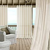 gazebo curtains with velcro Carmen Sheer Extra Wide Indoor/Outdoor Grommet Top Single Panel Window Curtain Drape/Curtain Patio, Gazebo and Pergola Panel Includes 1 tieback, 114 Inch Wide X 84 Inch Long, Ivory