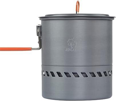 tentock 2 – 3 persona intercambiador de recogida de calor Pot 1.5L Camping Stove duro olla de aluminio con mango plegable rápida hervir Billy puede ...