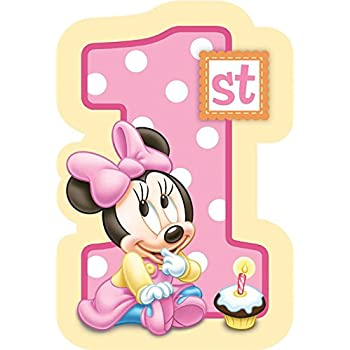 amazon com 8 count minnie s 1st birthday invitations with sticker