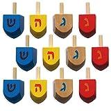 Wood Hanukkah Dreidels - 12 Pack for Chanukah