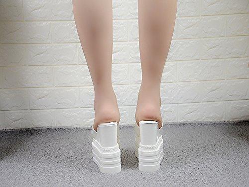 Blanco grueso alto de centimetros con las XiaoGao y fondo 13 tacón zapatillas PAwUKHq1
