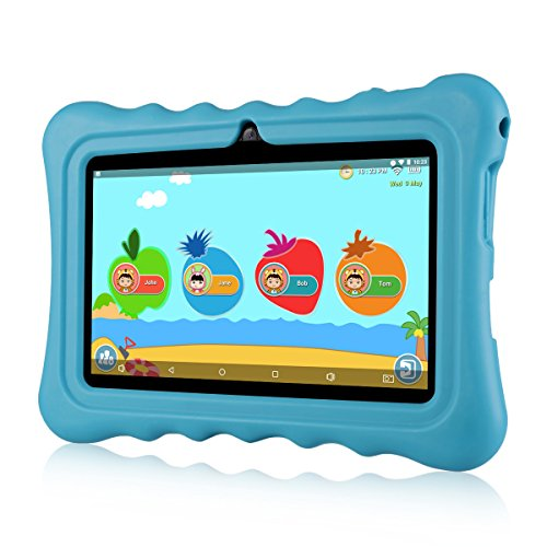 7 Kids Tablets, Android 7.1 RK3126C Quad Core, Ainol Q88 Kids Education Tablet with 1GB ROM+8GB RAM, Dual 0.3MP Cam,Portable Kid-Proof Shock-Proof Silicone Case for Kids Tablet PC(1GB, Blue)
