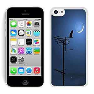 Element Slim Iphone 5c Case Cute Cat and Moon White Soft pc Phone Cover