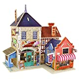 Robotime Wood 3D House of Puzzles British Music Store Woodcraft Construction Kit Assemble DIY Christmas Birthday Gift Mini DIY Dolls House