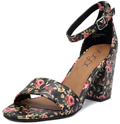 Sugar Women's Maaria Block Heel Pump Dress Shoe Sandal 8 Black Floral ()