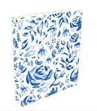 "Bloom Daily Planners 3-Ring Fashion Binder (10'' x 11.5"") - 1 inch Ring - Blue Floral"