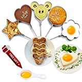 Fried Egg Molds Stainless Steel Set of 5 Pcs for Kids Ring Pancake Cooker Nonstick Within Free Gift of Egg Separator for Frying Cooking