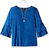 Amy Byer Girls' Big 7-16 Bell Sleeve Top with Necklace