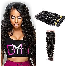 Daiweier Brazilian Deep Wave Virgin Hair Bundles with Closure 16 18 20 + 14 Natural Color 4x4 Silk Free Part Human Hair Weaves and Closures For Black Woman