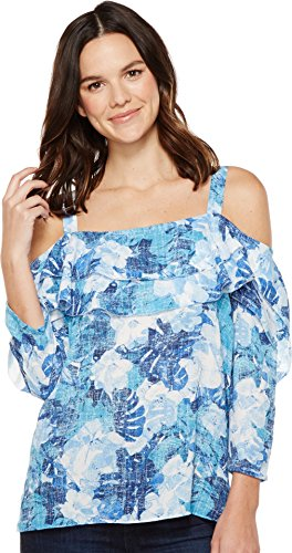 NYDJ Women's Ruffled Off Shoulder Top, Cote D' Azur Tropics Matisse Blue, Medium