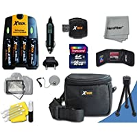 Ideal Accessory Kit for Canon Powershot SX160 IS Digital Cameras Includes 16GB High Speed Memory Card + 4 AA High Capacity 3100mAh Rechargeable Batteries with Quick AC/DC Charger + Water Resistant Padded Case + Universal Card Reader + Mini Table Tripod + Memory Case Holder + Screen Protectors + Deluxe Cleaning Kit + Lens Cap Holder + Ultra Fine HeroFiber Cleaning Cloth