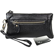 kilofly Genuine Leather Womens Wrist Strap Wristlet Clutch Purse + Money Clip