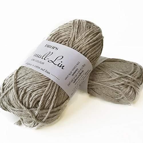 (Cotton and Linen Yarn, 4 or Medium, Aran Weight, Drops Bomull-Lin, 1.8 oz 93 Yards per Ball (11 Beige))