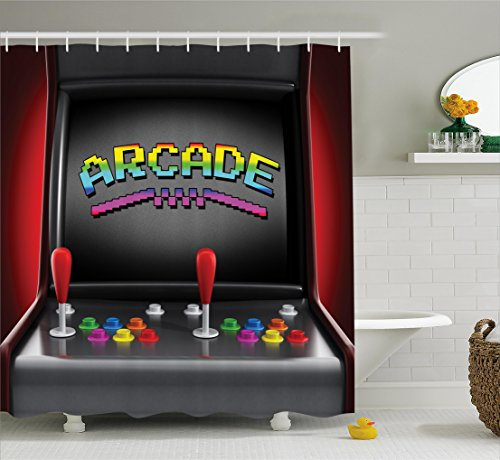 Ambesonne Video Games Shower Curtain Set, Arcade Machine Retro Gaming Fun Joystick Buttons Vintage 80's 90's Electronic, Fabric Bathroom Decor with Hooks, 84 inches Extra Long, Multicolor