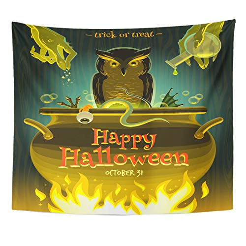 Emvency Tapestry Owl Cooking Halloween Witch Cooks Poison Potion in Cauldron Brew Spell Magic Home Decor Wall Hanging for Living Room Bedroom Dorm 60x80 Inches for $<!--$19.98-->