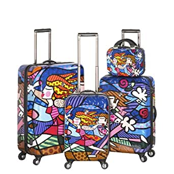 Heys USA Luggage Britto Blossom Hard Side 4 Piece Luggage Set, Multi-Colored, One Size